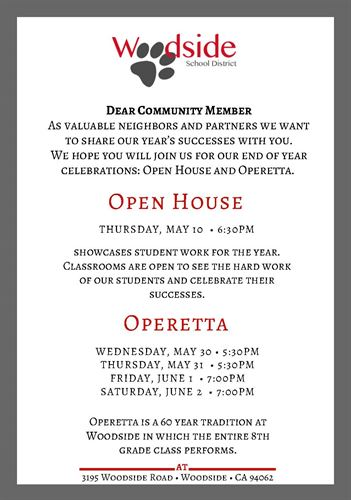 Woodside Community Invitation to Open House and Operetta 2018
